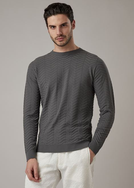 Jacquard virgin wool sweater with chevron motif