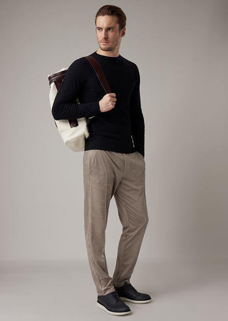 Jersey de lana virgen con diseño de jacquard con motivo chevrón