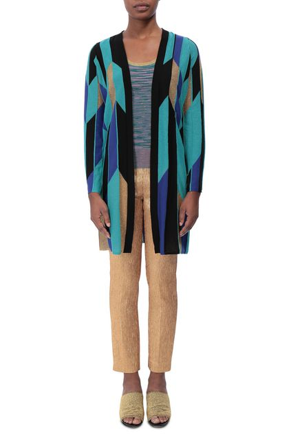 M MISSONI Long cardigan Turquoise Woman - Back