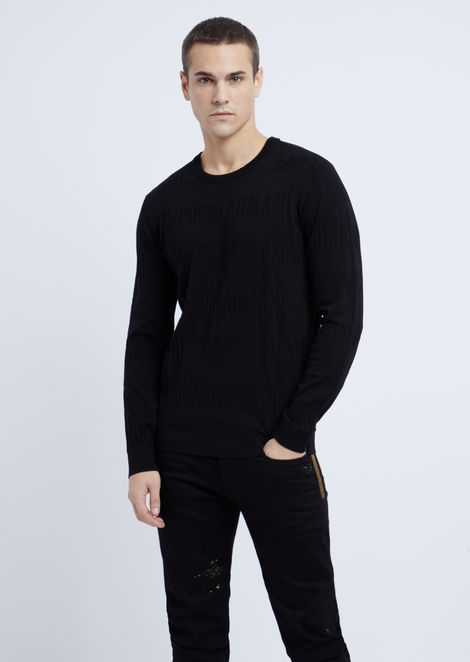 Crew-neck sweater in jacquard knit with Emporio Armani intarsia