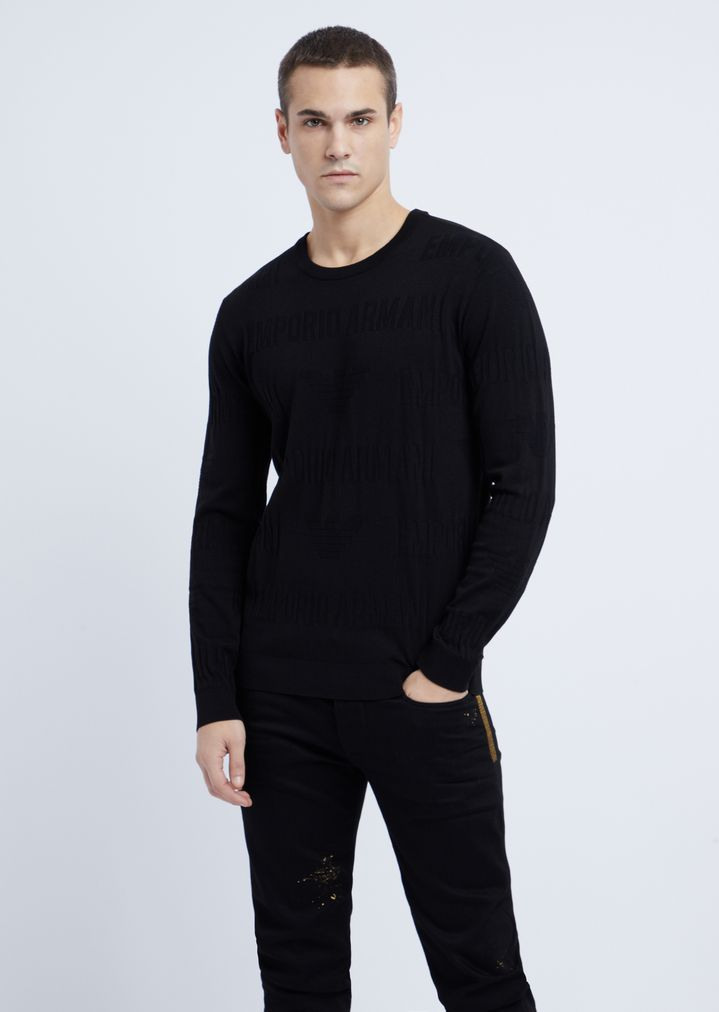 e71636d5d904 Crew neck sweater in jacquard knit with Emporio Armani intarsia   Man   Emporio  Armani