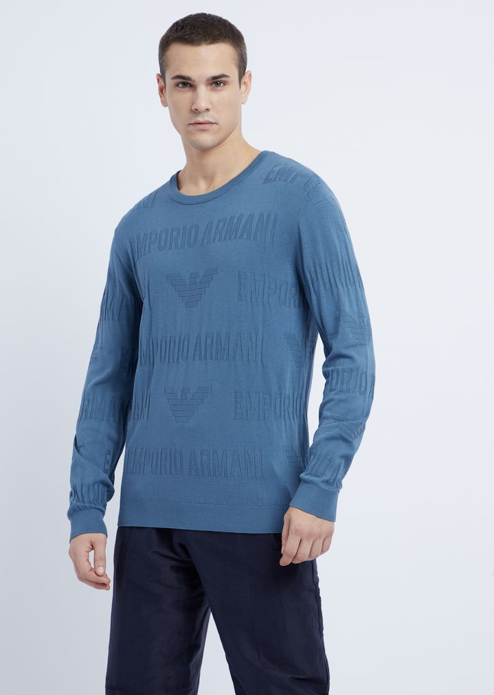 f47725d059 Crew neck sweater in jacquard knit with Emporio Armani inlay