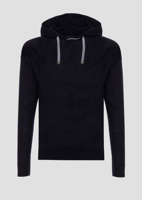 Plain-knit sweatshirt with hood and drawstring
