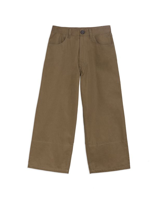 Marni PANTS IN COTTON GABARDINE WITH CONTRASTING COLOR CUFFS Man - 1