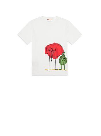 Marni T-shirt in cotone con stampa sul davanti Wooly Friends Uomo