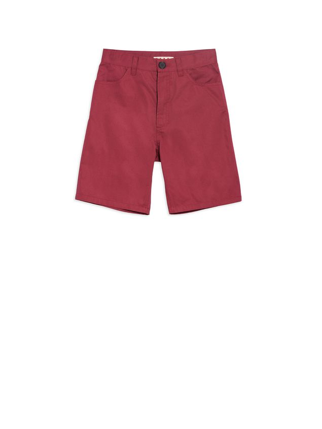 Marni Short pants in bordeaux cotton Man - 1