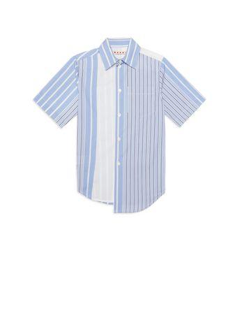 Marni Asymmetric striped cotton popeline shirt Man