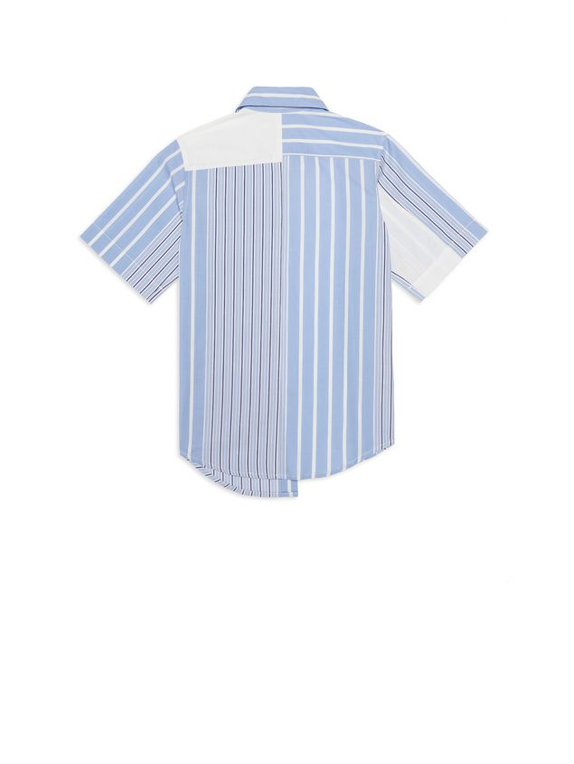 Marni Asymmetric striped cotton popeline shirt Man