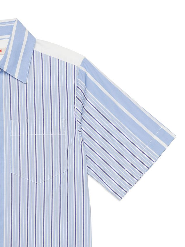 Marni Asymmetric striped cotton popeline shirt Man - 4
