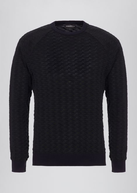 Sweater in pure cotton jacquard