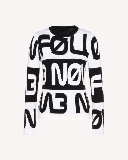 "Wollpullover mit ""Follow Me Now""-Jacquardmotiv"