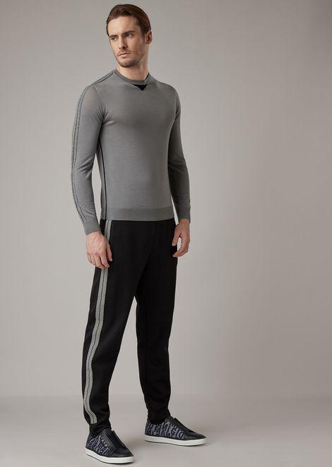 Jersey de lana virgen con aplicación de chevrón bicolor