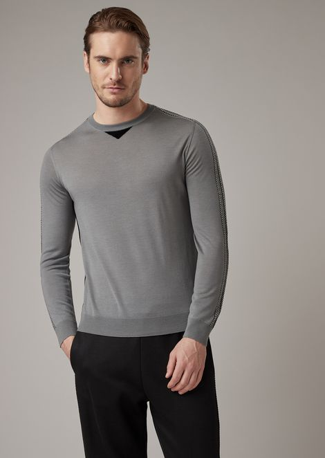 Virgin wool sweater with two-tone chevron intarsia