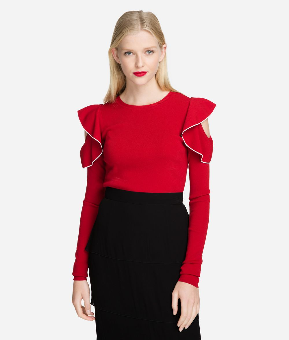 KARL LAGERFELD Ruffle Sleeve Sweater Sweater Woman f