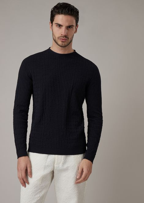 Virgin wool sweater with crocodile-effect jacquard knit