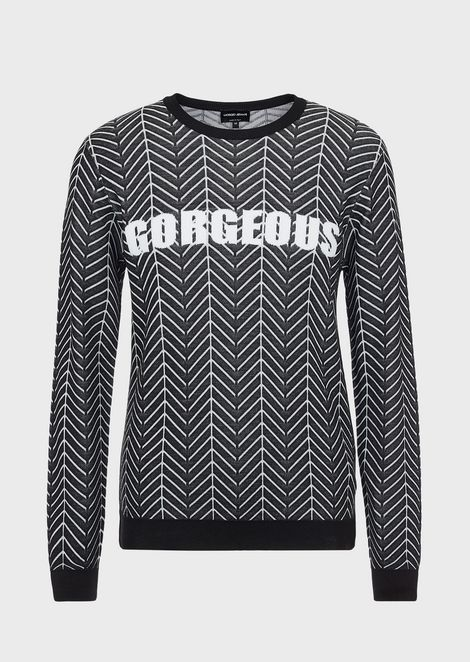 Chevron jacquard sweater with Gorgeous embroidery