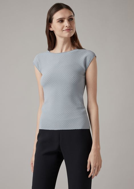 Two-tone jacquard knit top