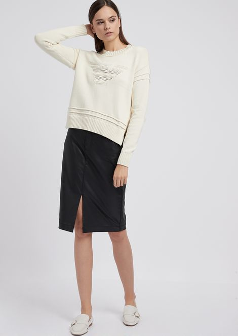 Sweater with eagle design openwork knit