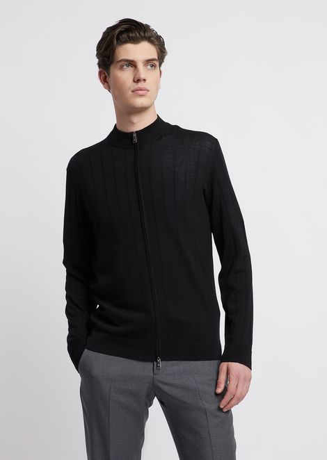 Pure virgin wool ribbed cardigan with zipper