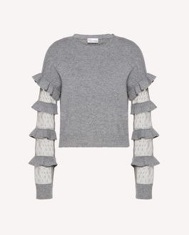REDValentino Ruffles detail wool sweater
