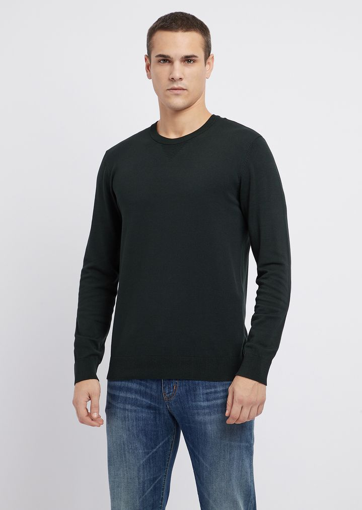 7419a54d7057 Crew-neck sweater with maxi-eagle embroidered on the back   Man   Emporio  Armani