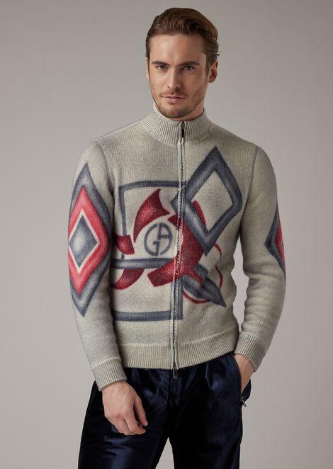 Full zip cardigan in cashmere with hand-airbrushed print