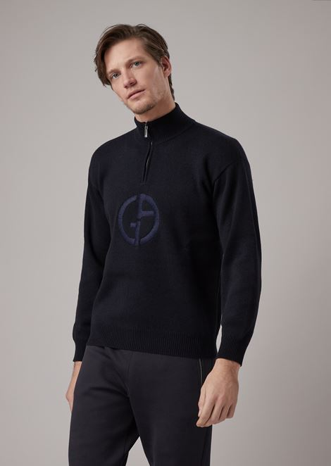 Mock neck sweater with zip in cashmere with logo embroidered on the front
