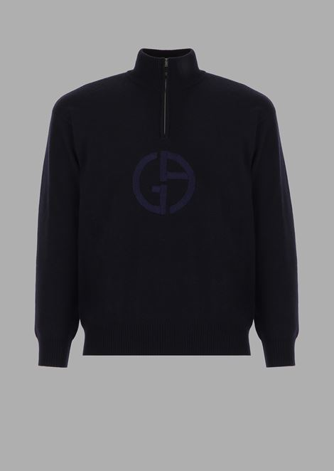 Turtleneck sweater with zip in cashmere with logo embroidered on the front