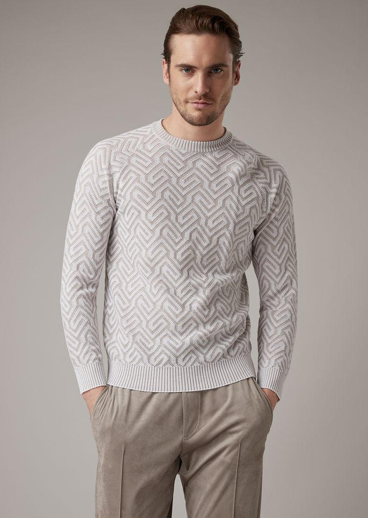 bbae5a3b4b Sweater with fine stripes and raised Greek key in jacquard knit
