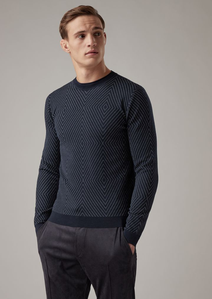 21a26fe015 Sweater in knitted jacquard piqué with diamond motif