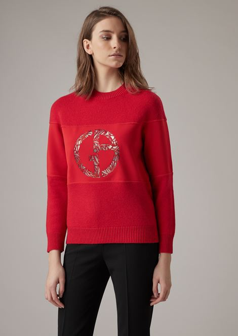 Cashmere sweater with embroidered and laser-etched