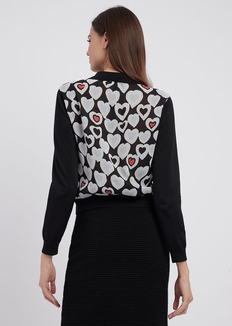 Knit cardigan with heart-patterned creponne back