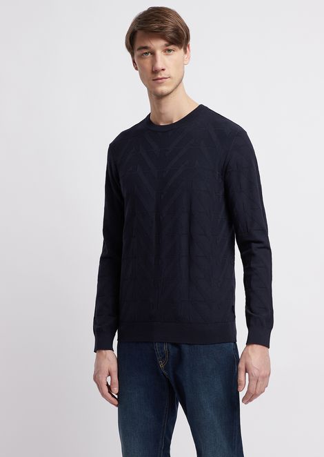 Crew-neck sweater in jacquard knit with geometric inlay