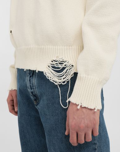SWEATERS Destroyed knit pullover