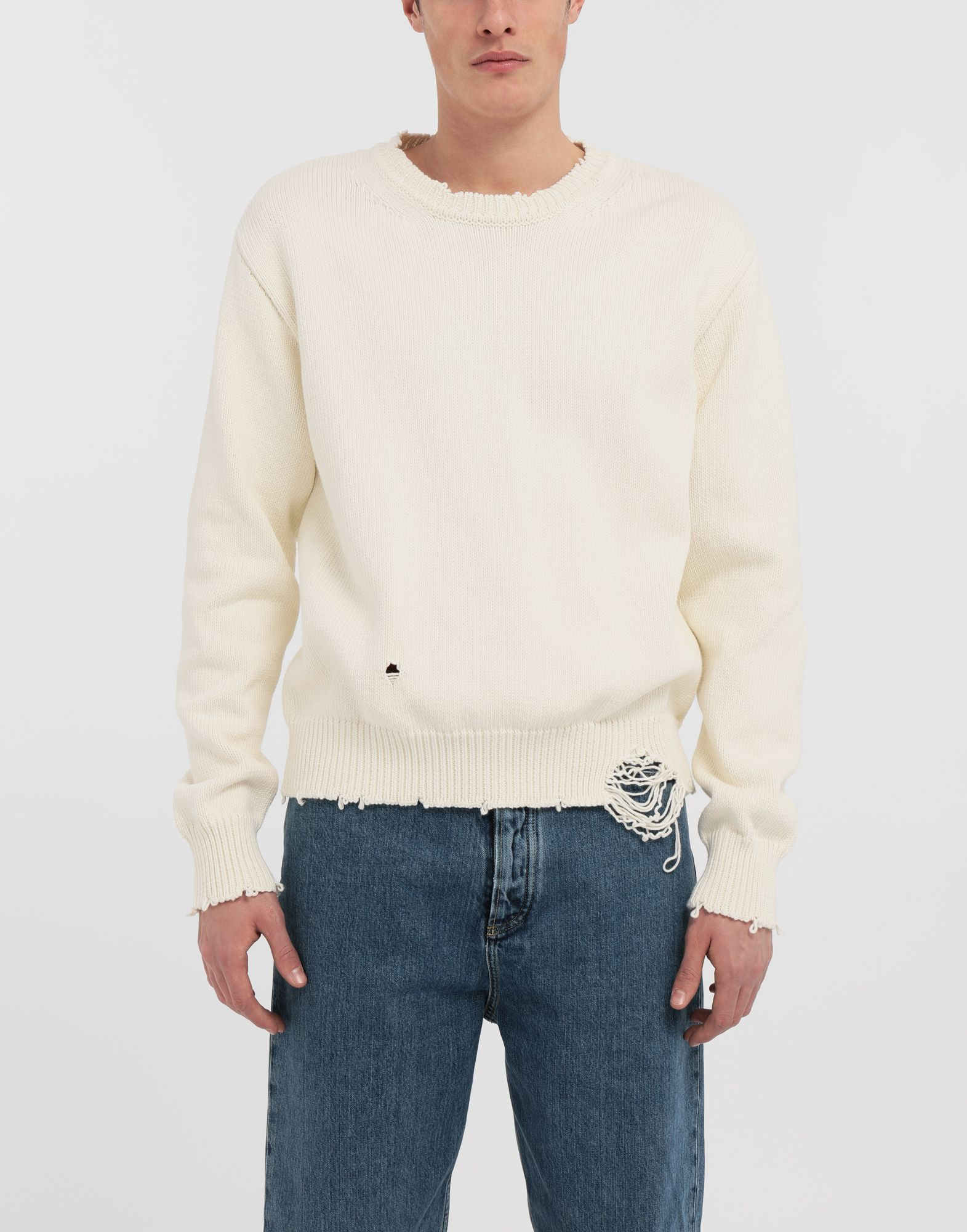 MAISON MARGIELA Destroyed knit pullover Crewneck sweater Man r