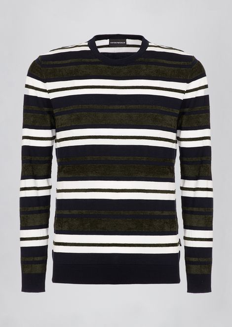 Pure cotton sweater with striped motif