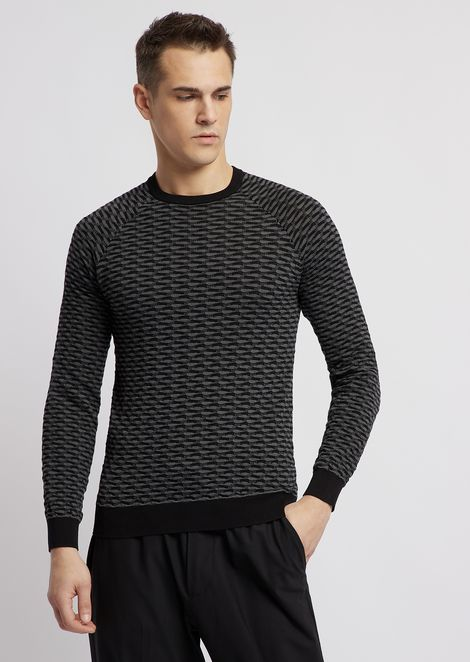 Sweater in pure cotton jacquard