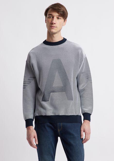 Jersey de algodón puro con aplicación Emporio Armani
