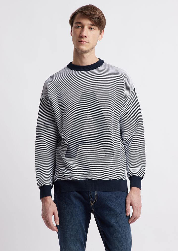 8165679a89 Pure cotton sweater with Emporio Armani inlay
