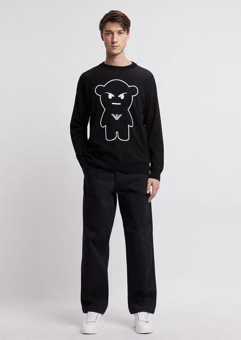 Jersey de cuello redondo con bordado Manga Bear