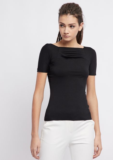 Short-sleeved sweater in stretch jersey with draped folds