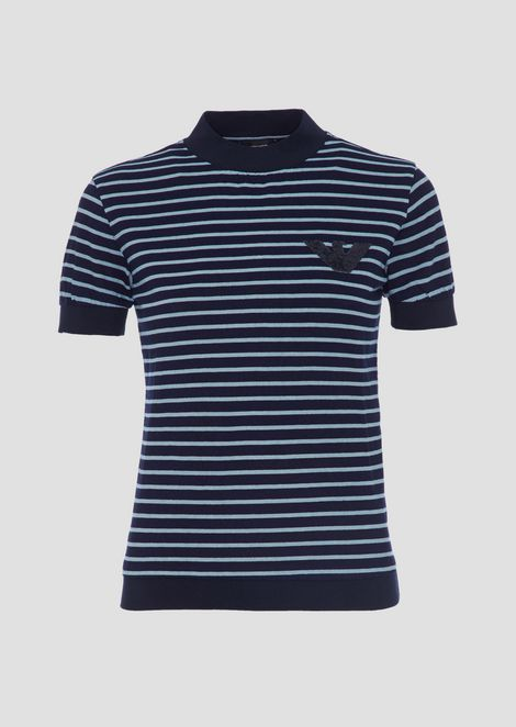 Short-sleeved shirt in striped jersey with embroidered logo