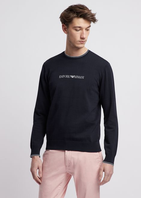 Plain-knit pure cotton sweater with Emporio Armani inlay