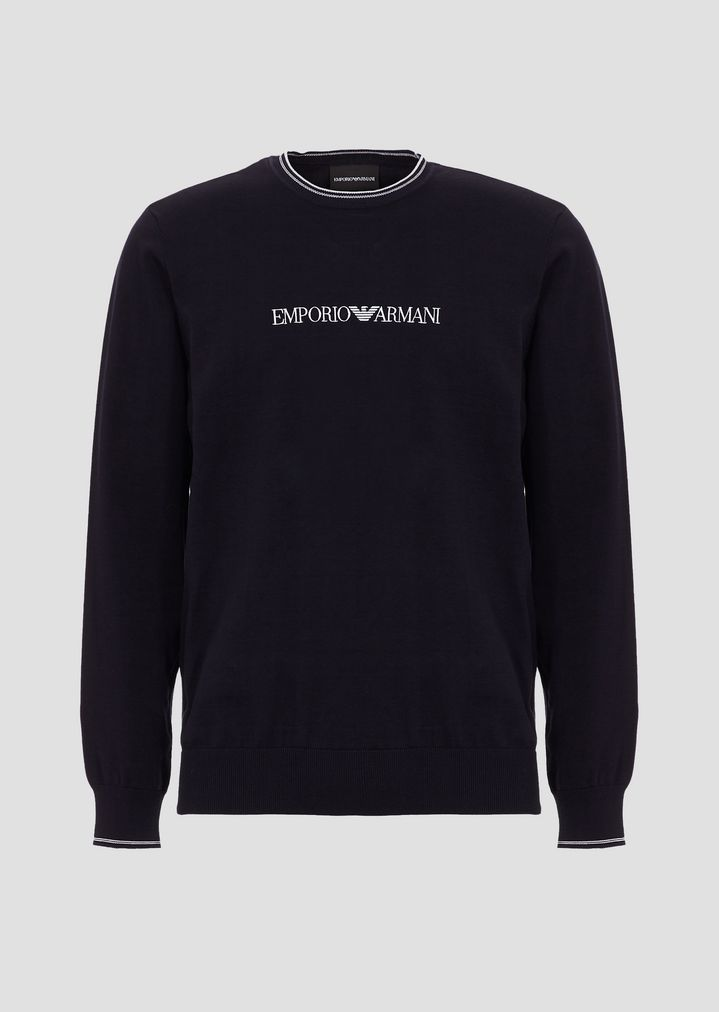 6dd264cfab Plain-knit pure cotton sweater with Emporio Armani inlay