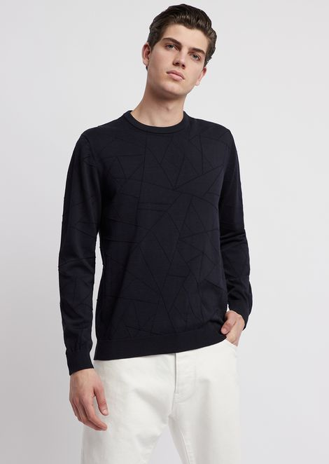 Pure cotton sweater in drop-stitch knit with geometric motif
