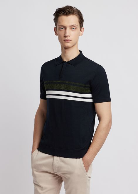 Knit polo shirt in cotton with stripes