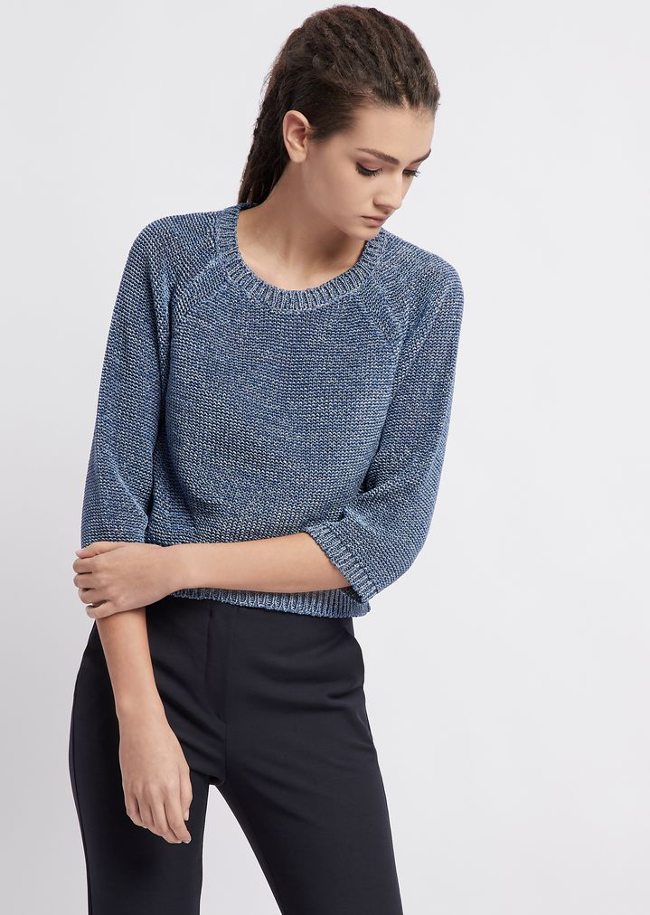 37e93b9034 Plain reverse knit sweater with raglan sleeves