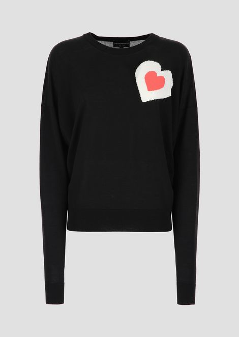 Wool blend sweater with heart-shaped inlay