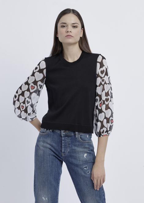 Sweater with sleeves in matte viscose plated-knit in heart motif