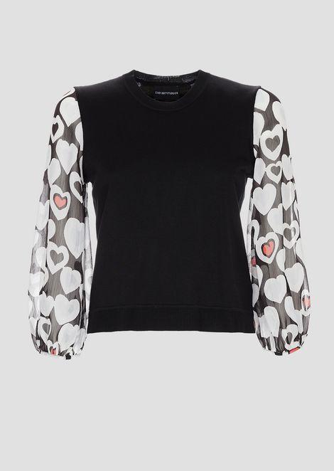 Pullover mit Ärmeln aus mattem Viskose-Frottee mit Herzmotiv